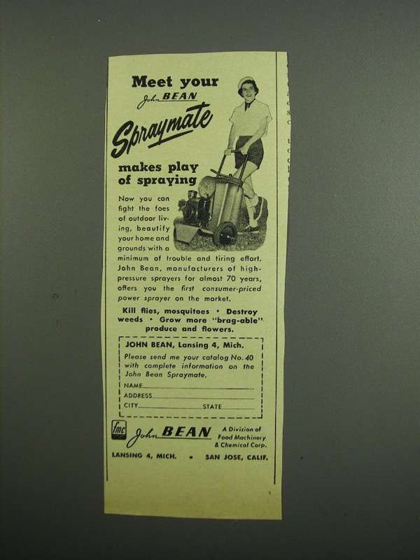 Primary image for 1953 John Bean Spraymate Sprayer Ad