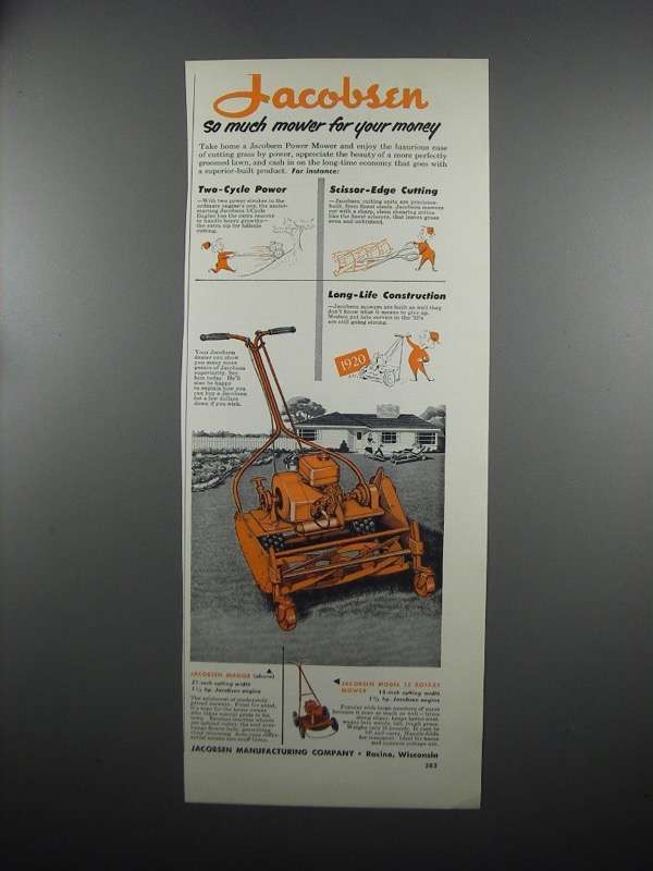 Primary image for 1953 Jacobsen Manor Mower and Model 18 Rotary Mower Ad