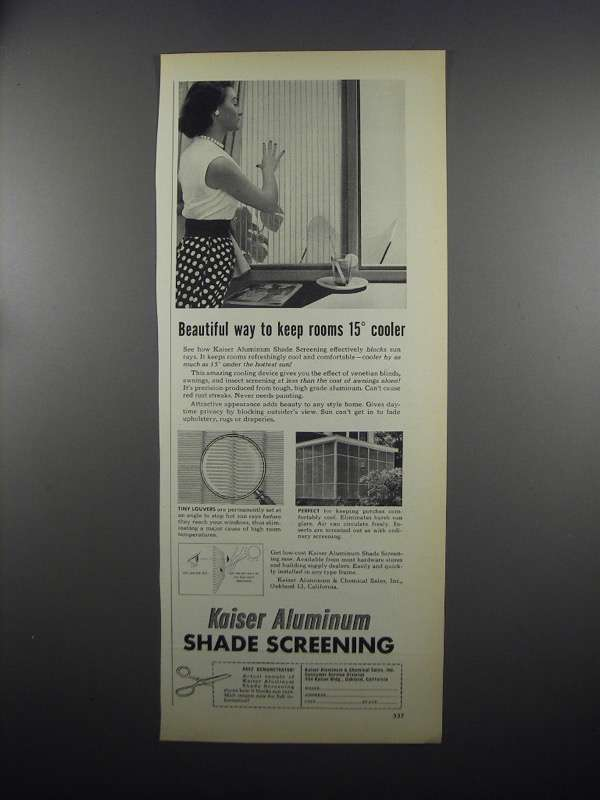 Primary image for 1953 Kaiser Aluminum Shade Screening Ad - Cooler