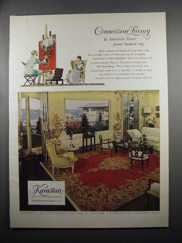 Primary image for 1953 Karastan Rug #762 Ad - Connoisseur Luxury