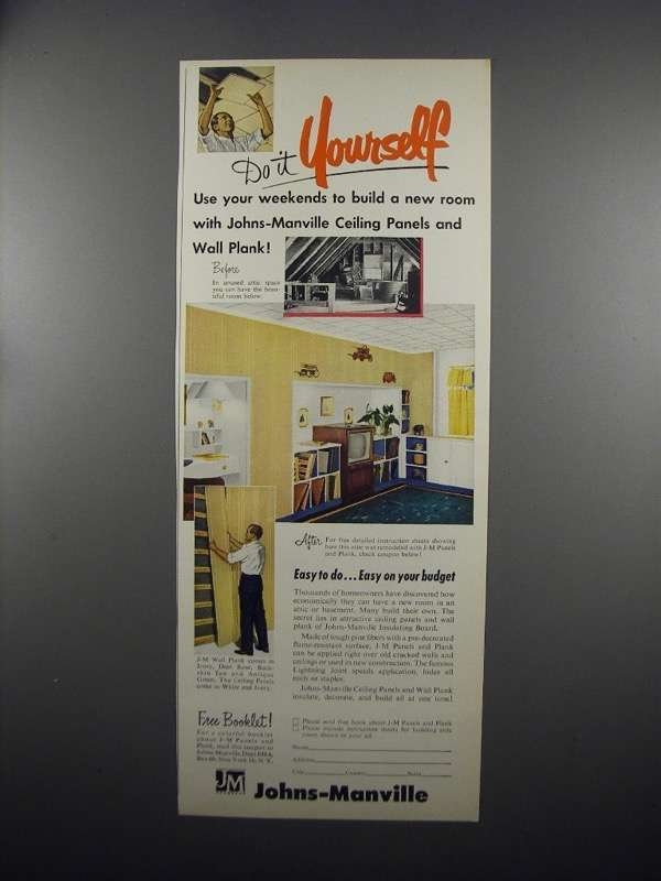 Primary image for 1953 Johns-Manville Ceiling Panels and Wall Plank Ad