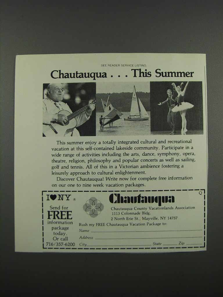 Primary image for 1983 Chautauqua County NY Ad - This Summer