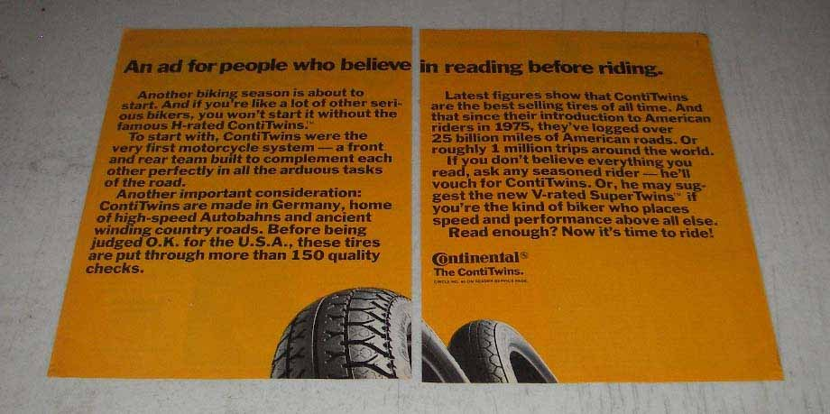 Primary image for 1983 Continental ContiTwins Motorcycle Tires Ad