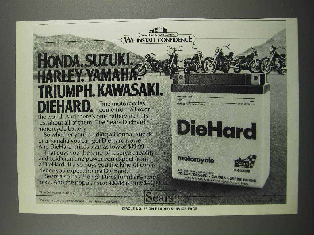 Primary image for 1983 DieHard Motorcycle Batteries Ad - Honda, Suzuki