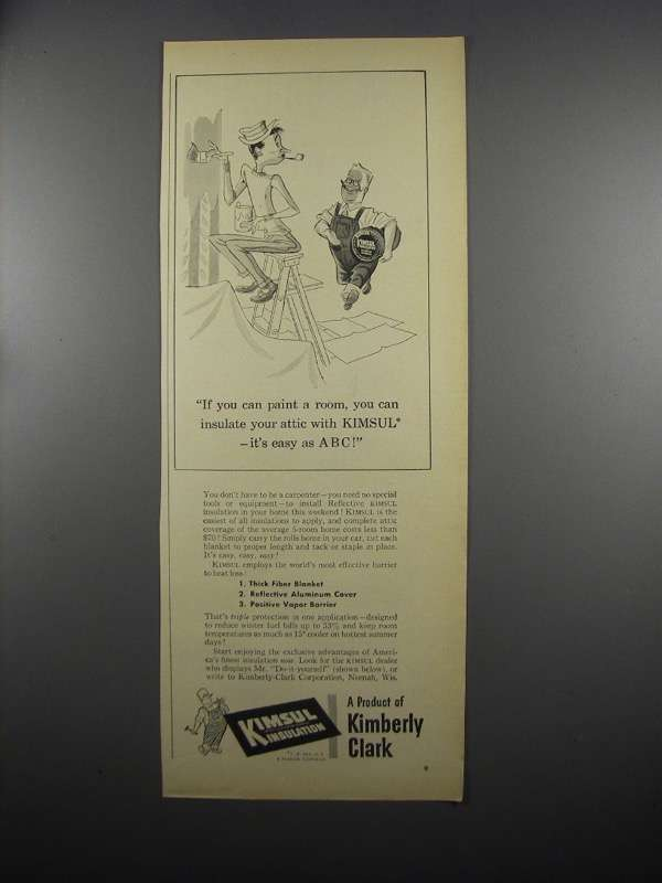 Primary image for 1953 Kimberly Clark Kimsul Insulation Ad - It's Easy