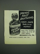 1953 McCormick Iron Glue Ad - Mends Most Anything - $14.99