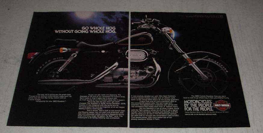 Primary image for 1983 Harley-Davidson Custom Roadster Motorcycle Ad