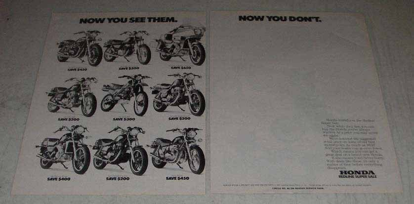 Primary image for 1983 Honda Motorcycle Ad - CM450E, XL500R, CB650