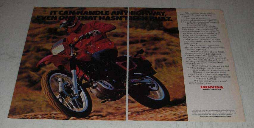 Primary image for 1983 Honda XL600R Motorcycle Ad - Any Highway