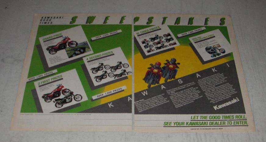 Primary image for 1983 Kawasaki Motorcycles Ad - Good Times Sweepstakes