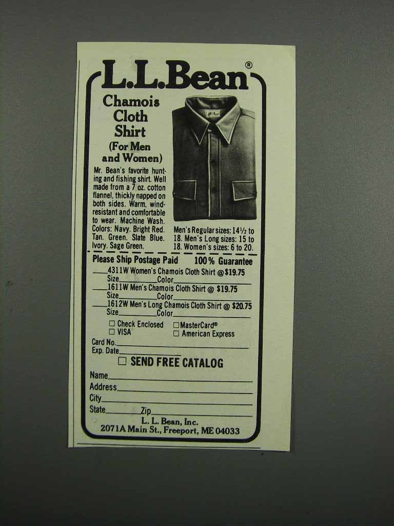 Primary image for 1983 L.L. Bean Chamois Cloth Shirt Ad