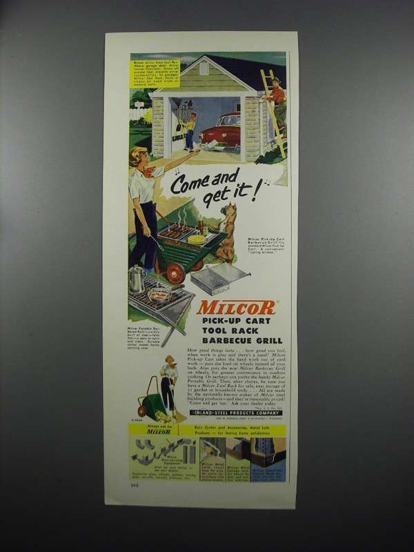 Primary image for 1953 Milcor Pick-up Cart Tool Rack Barbecue Grill Ad