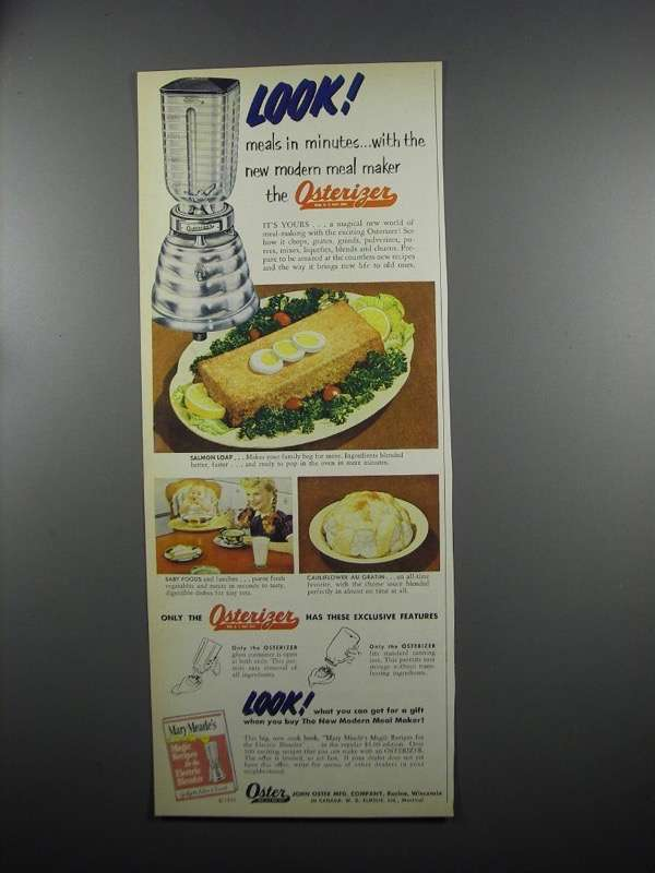 Primary image for 1953 Oster Osterizer Blender Ad - Meals in Minutes