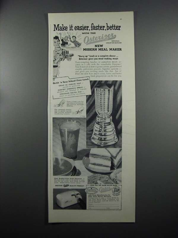 Primary image for 1953 Oster Osterizer Blender Ad - Make It Easier