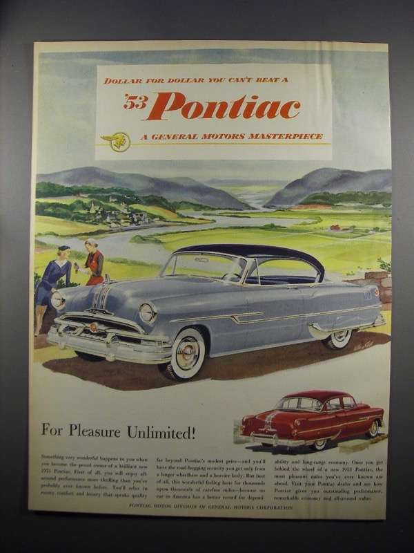 Primary image for 1953 Pontiac Car Ad - Dollar For Dollar You Can't Beat