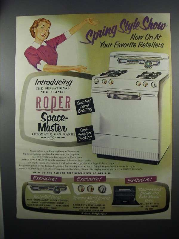 Primary image for 1953 Roper Space-Master Automatic Gas Range Ad