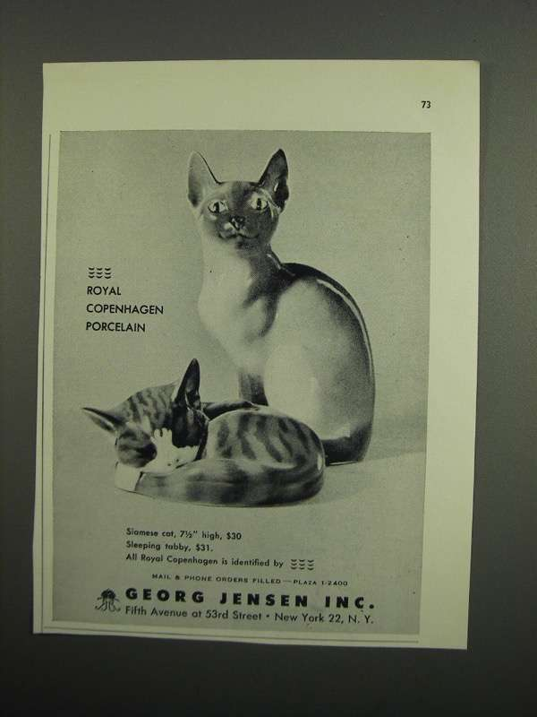 Primary image for 1953 Royal Copenhagen Siamese Cat & Sleeping Tabby Ad