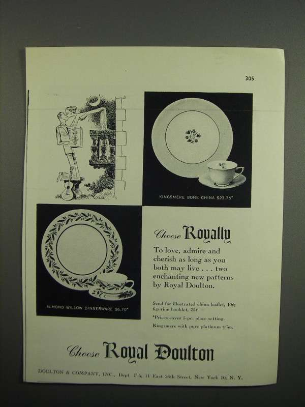 Primary image for 1953 Royal Doulton Kingsmere Bone China Ad