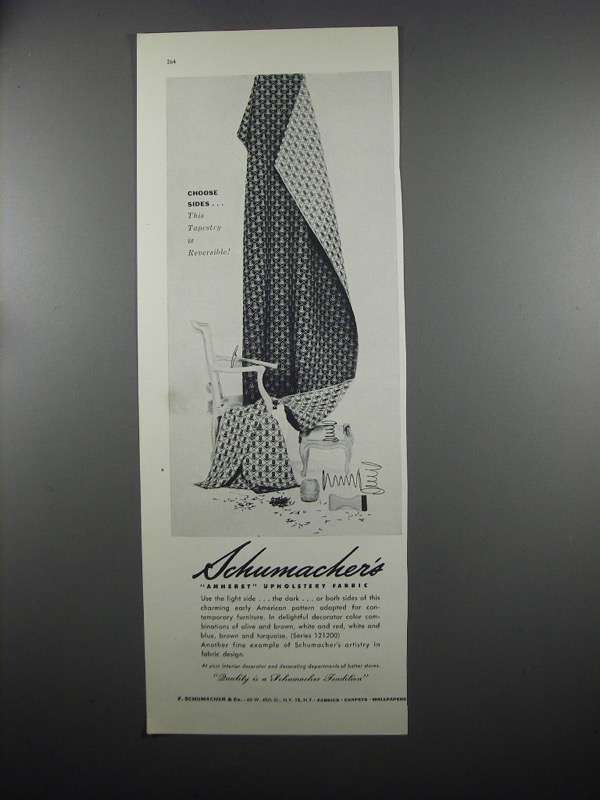 Primary image for 1953 Schumacher's Amherst Upholstery Fabric Ad