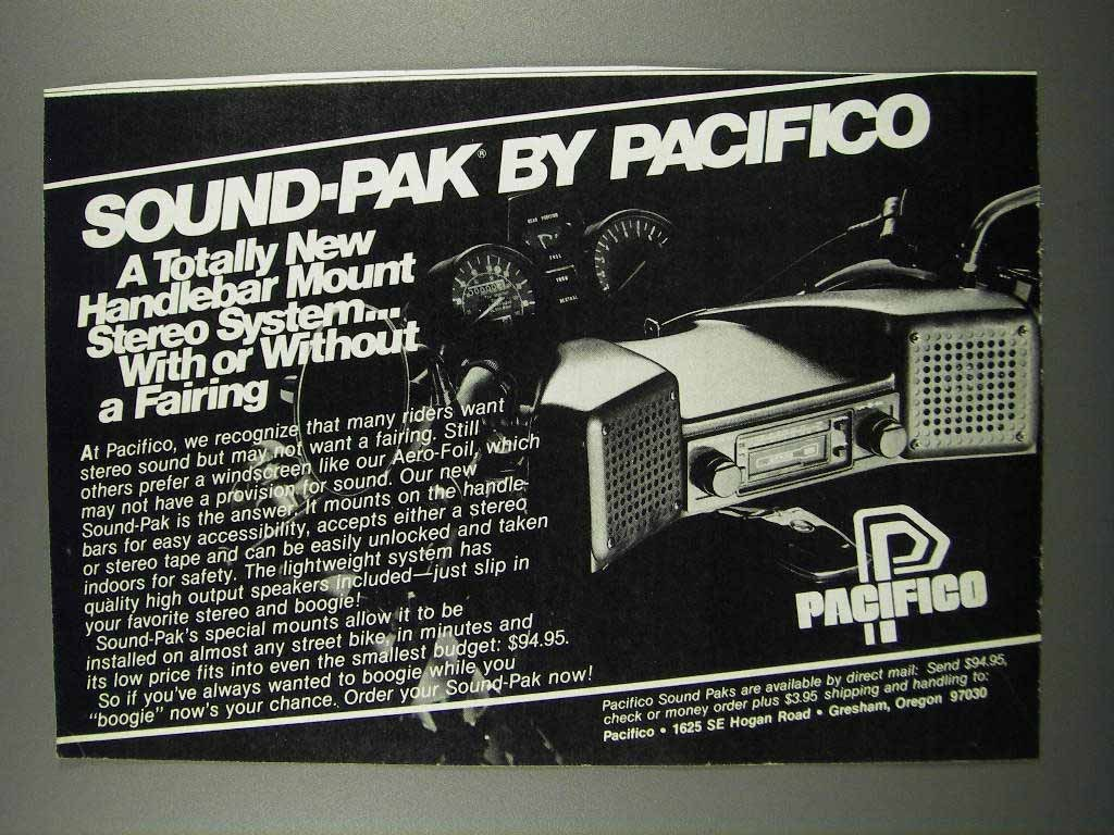 Primary image for 1983 Pacifico Sound-Pak Ad - Handlebar Mount Stereo