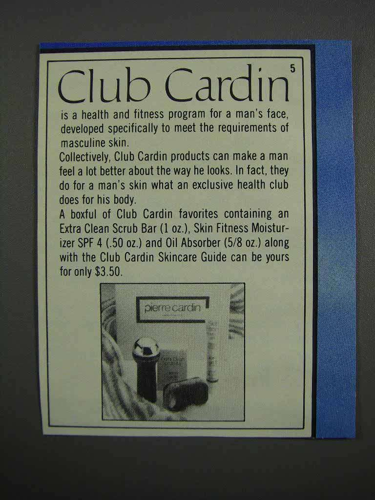 Primary image for 1983 Pierre Cardin Club Cardin Products Ad