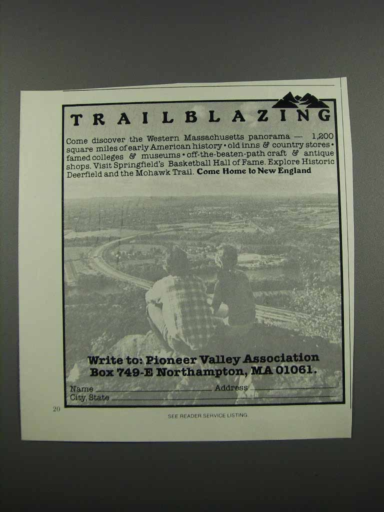Primary image for 1983 Pioneer Valley Association, MA Ad - Trailblazing