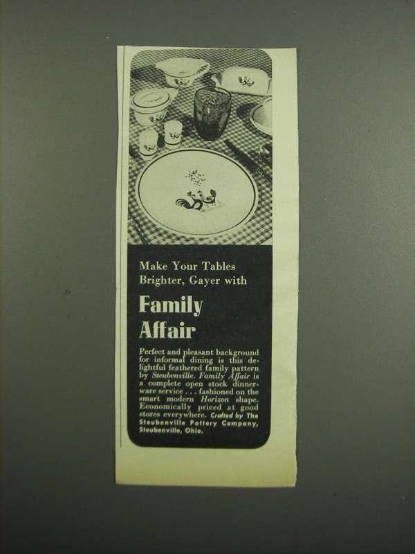 Primary image for 1953 Steubenville Family Affair Dinnerware Ad