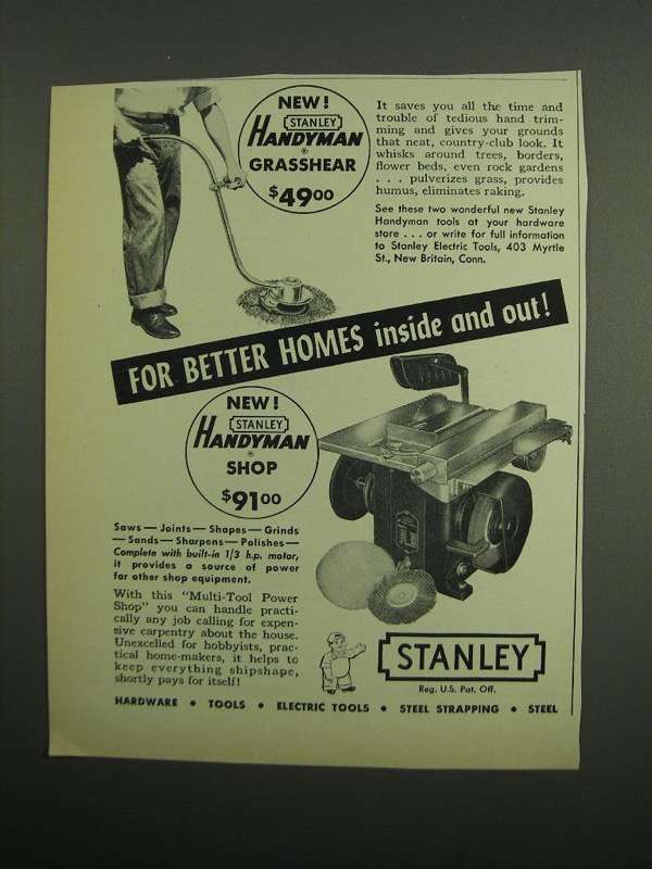 Primary image for 1953 Stanley Handyman Grasshear and Handyman Shop Ad