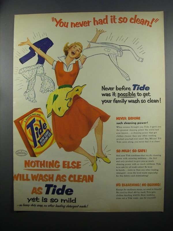 Primary image for 1953 Tide Detergent Ad - You Never Had It So Clean!