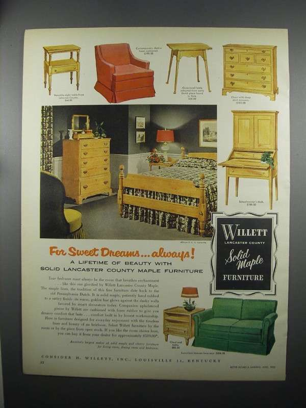 Primary image for 1953 Willett Furniture Ad - Night Table, Chair