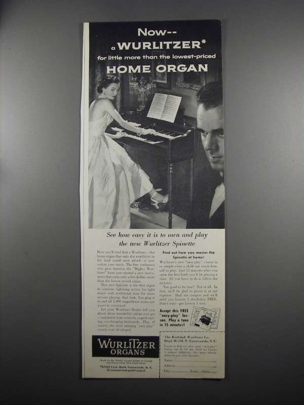Primary image for 1953 Wurlitzer Spinette Organ Ad - For Little More