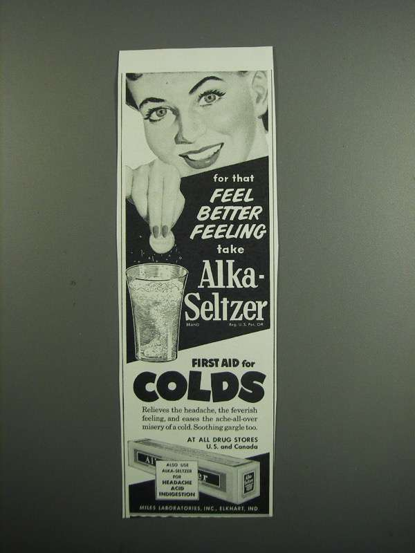 Primary image for 1954 Alka-Seltzer Medicine Ad - For That Better Feeling