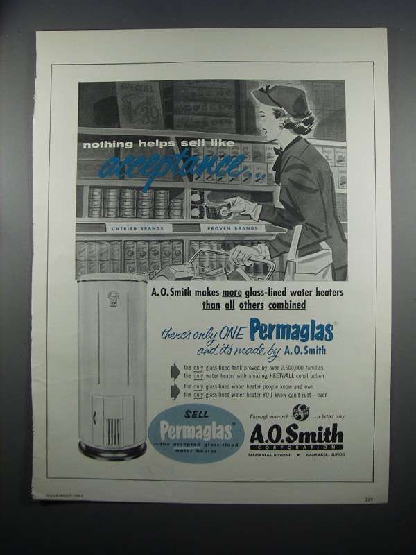 Primary image for 1954 A.O. Smith Permaglas Water Heater Ad - Acceptance