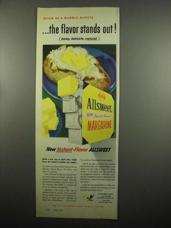 Primary image for 1954 Allsweet Margarine Ad - Quick as a Bubble Bursts