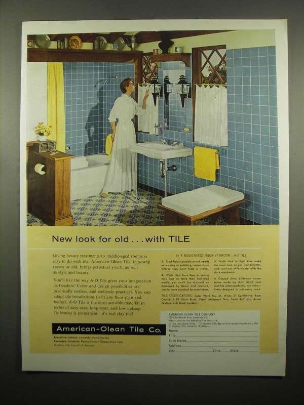 Primary image for 1954 American-Olean Tile Ad - New Look for Old
