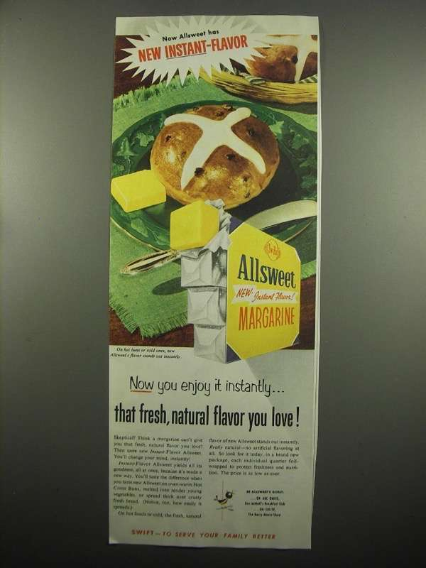 Primary image for 1954 Allsweet Margarine Ad - Fresh, Natural