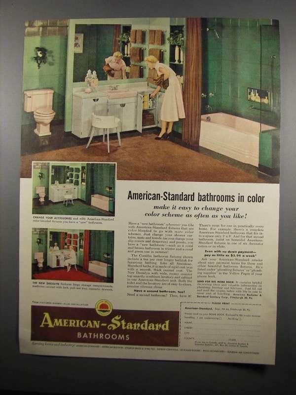 Primary image for 1954 American-Standard Bathroom Fixtures Ad - In Color