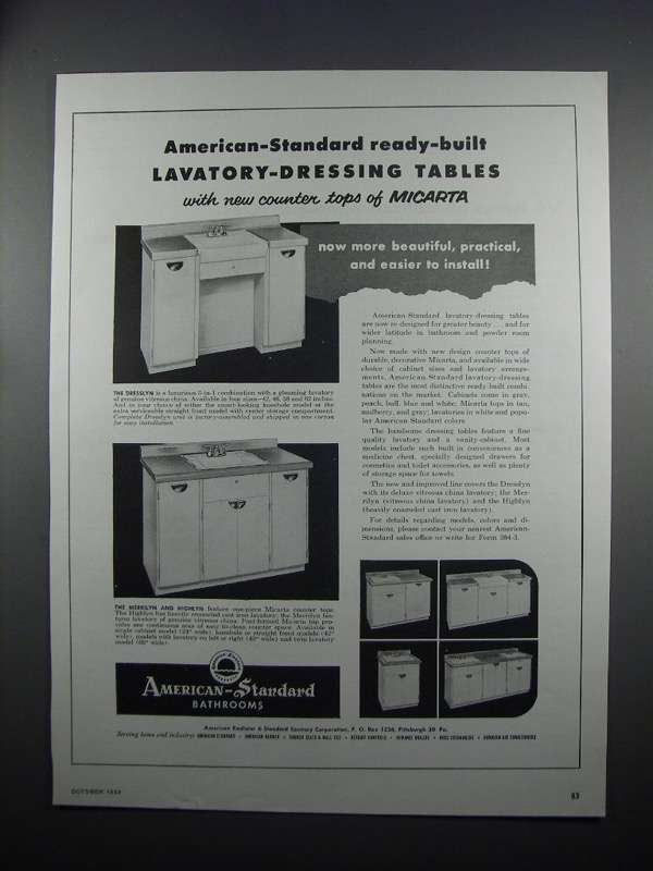 Primary image for 1954 American-Standard Lavatory-Dressing Tables Ad - NICE