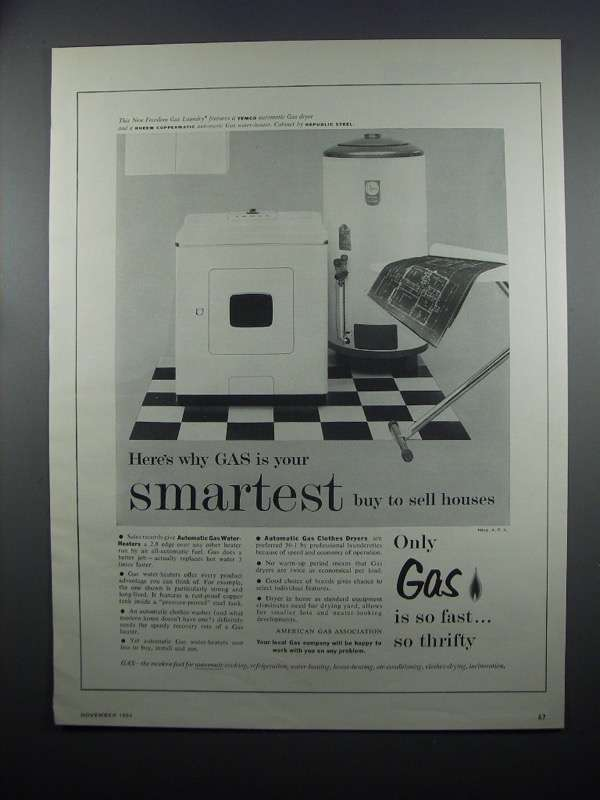 Primary image for 1954 American Gas Association Ad - Temco Dryer