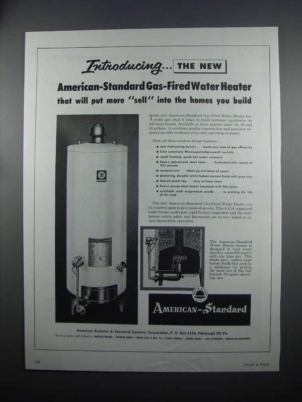 Primary image for 1954 American-Standard Gas-Fired Water Heater Ad