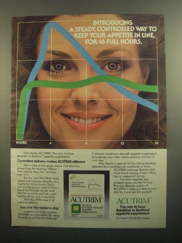 Primary image for 1984 Acutrim Appetite Suppressant Ad - Steady Way