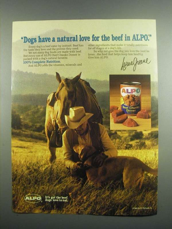 Primary image for 1984 Alpo Beef Chunks Dinner Dog Food Ad - Lorne Greene