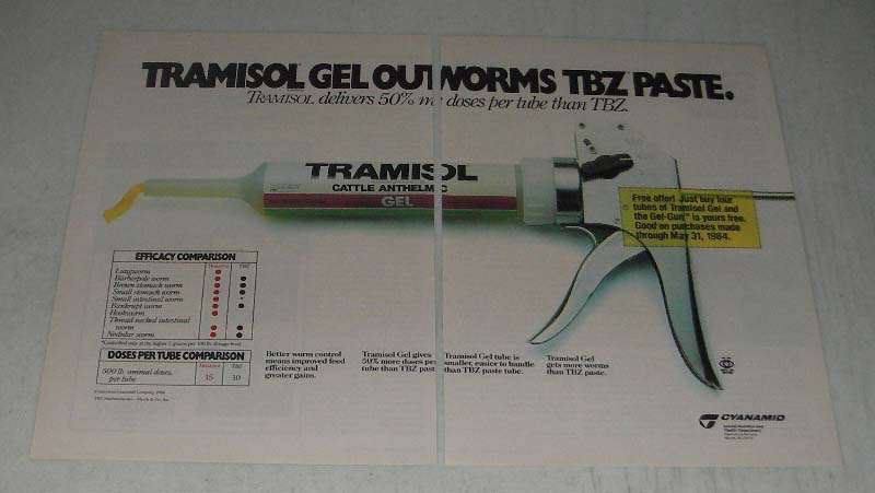 Primary image for 1984 American Cyanamid Tramisol Gel Ad - Outworms