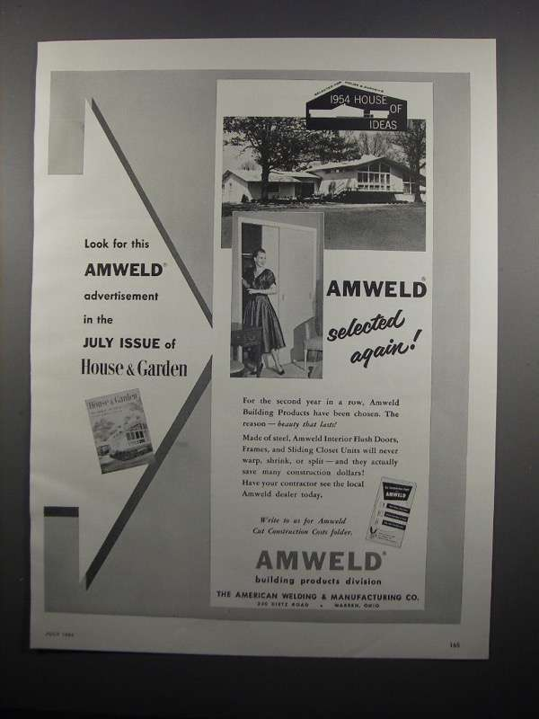 Primary image for 1954 Amweld Building Products Ad - Look for This