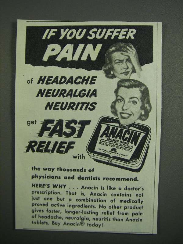 Primary image for 1954 Anacin Medicine Ad - If You Suffer Pain