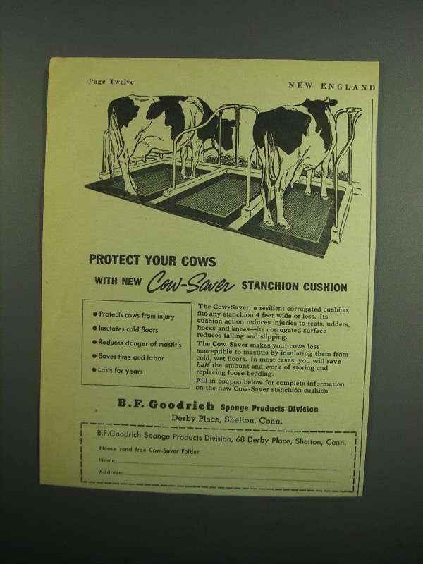 Primary image for 1954 B.F. Goodrich Cow-Saver Stanchion Cushion Ad