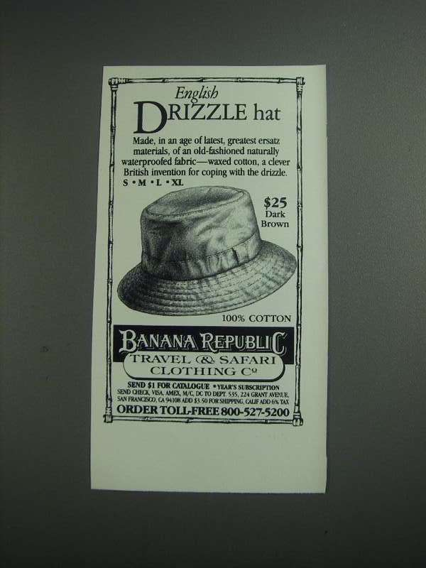Primary image for 1984 Banana Republic English Drizzle Hat Ad