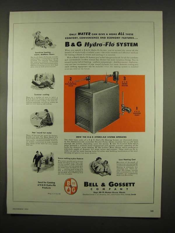 Primary image for 1954 Bell & Gossett Hydro-Flo Heating System Ad - All These Comforts