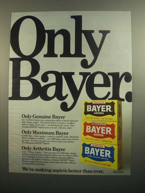 Primary image for 1984 Bayer Aspirin Ad - Only Bayer