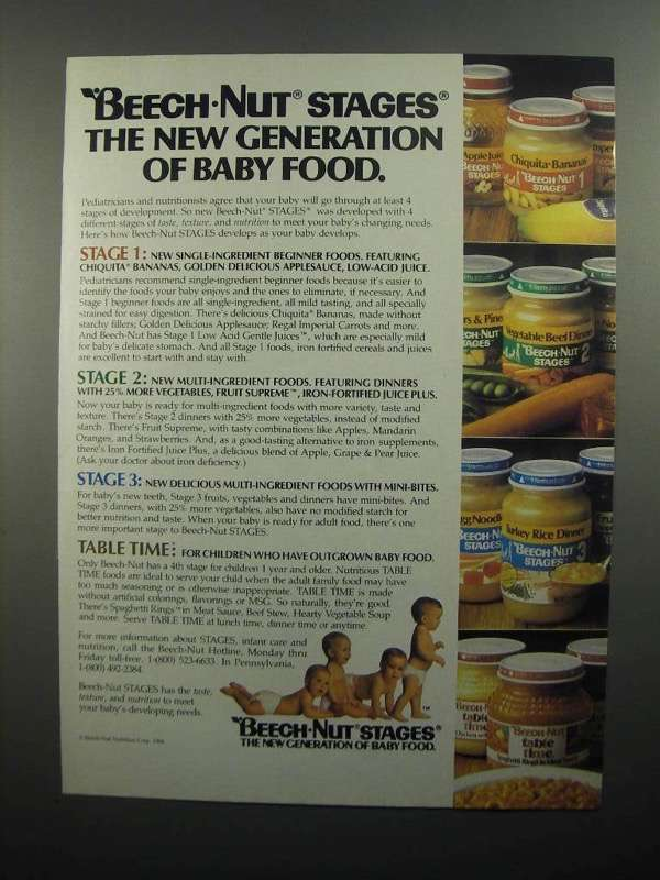 Primary image for 1984 Beech-Nut Stages Baby Food Ad - Stages the New Generation
